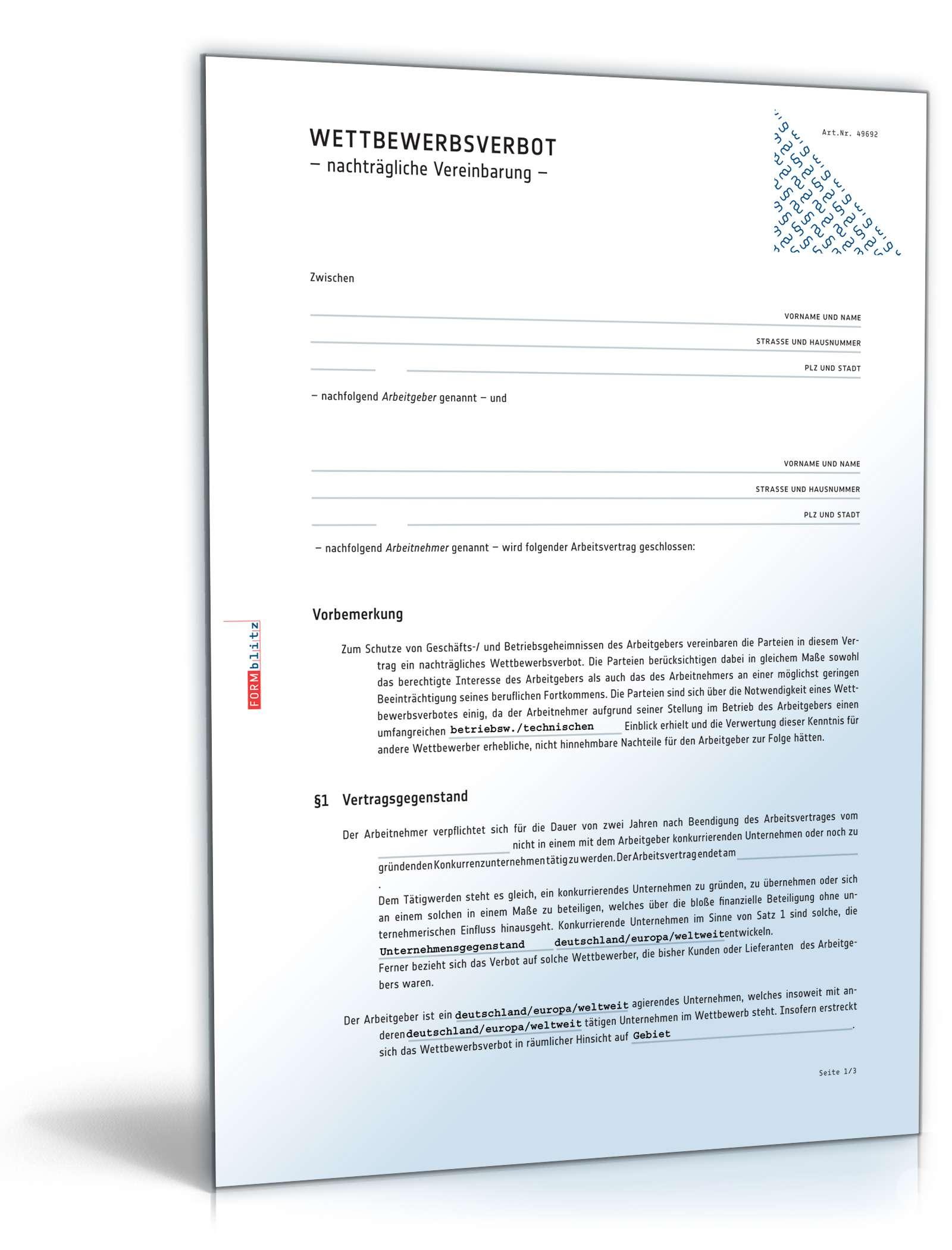 Kundenschutzvereinbarung Ch Vertrag Download