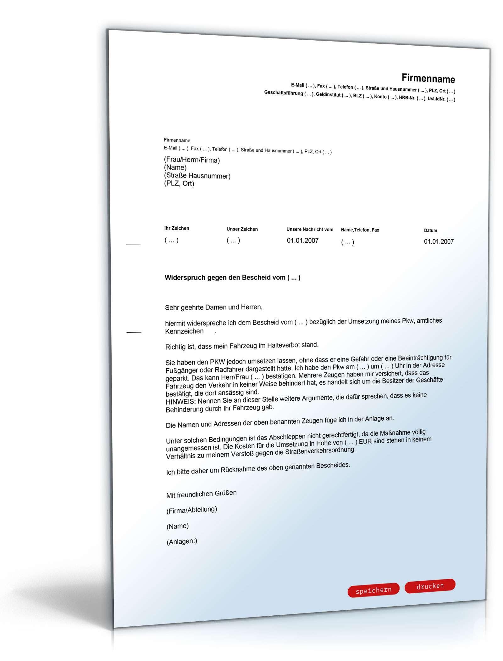 Musterbriefe Widerspruch Einlegen : Widerspruch abschleppen pkw vorlage zum download