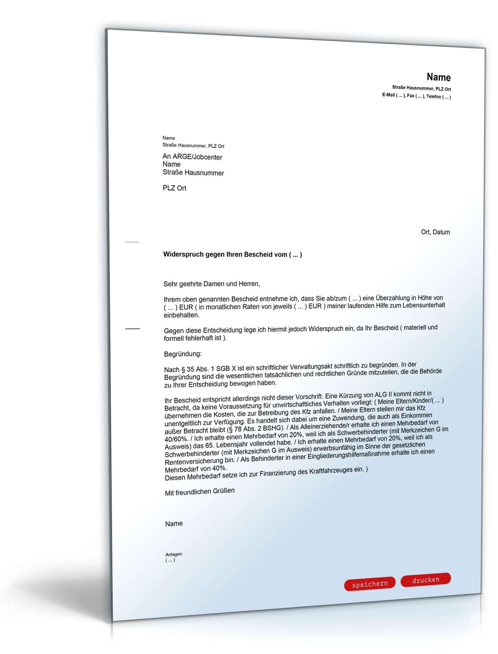 Widerspruch Kurzung Alg Ii Kfz Besitz Vorlage Zum Download