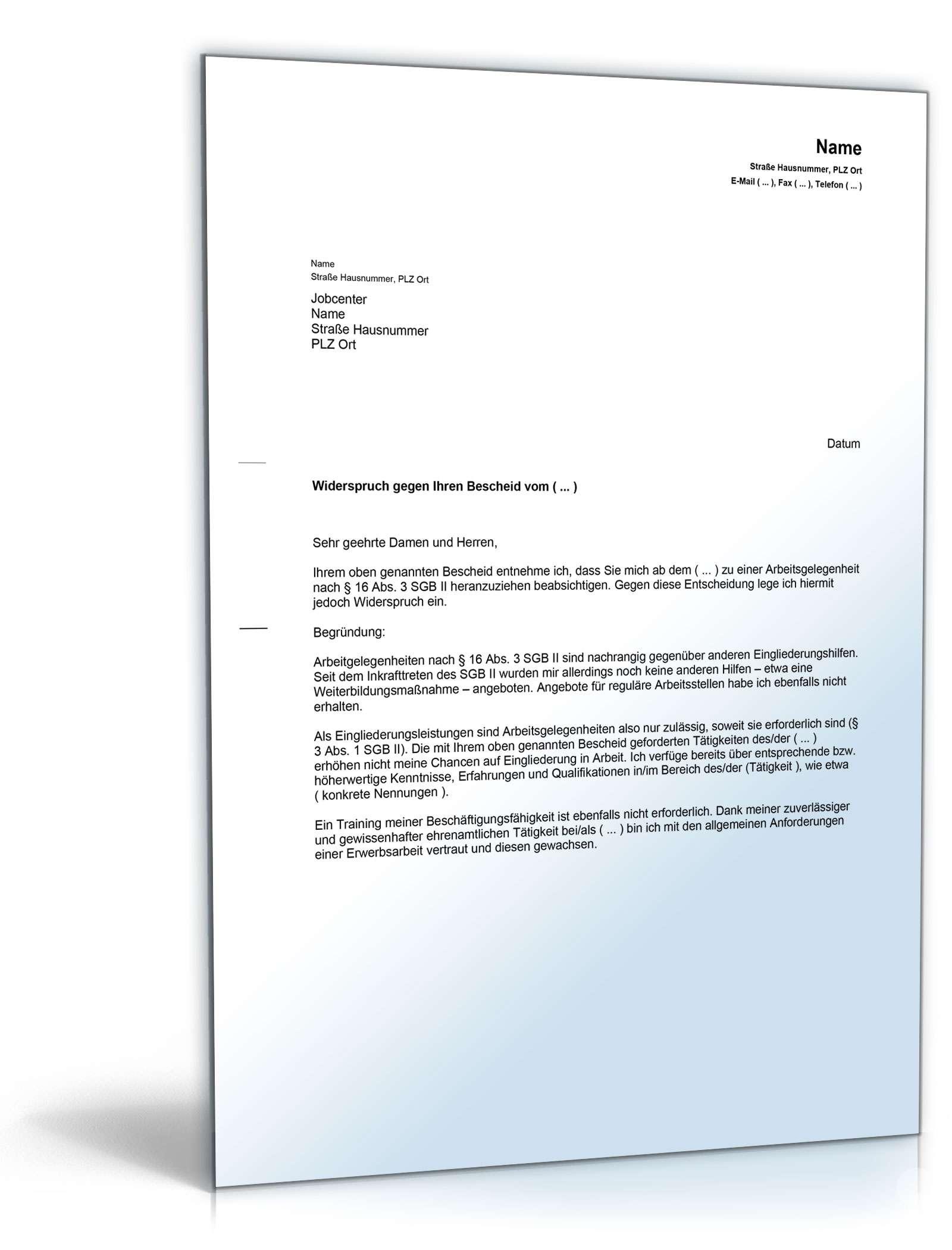 Widerspruch Verpflichtung 1 Euro Job Vorlage Zum Download