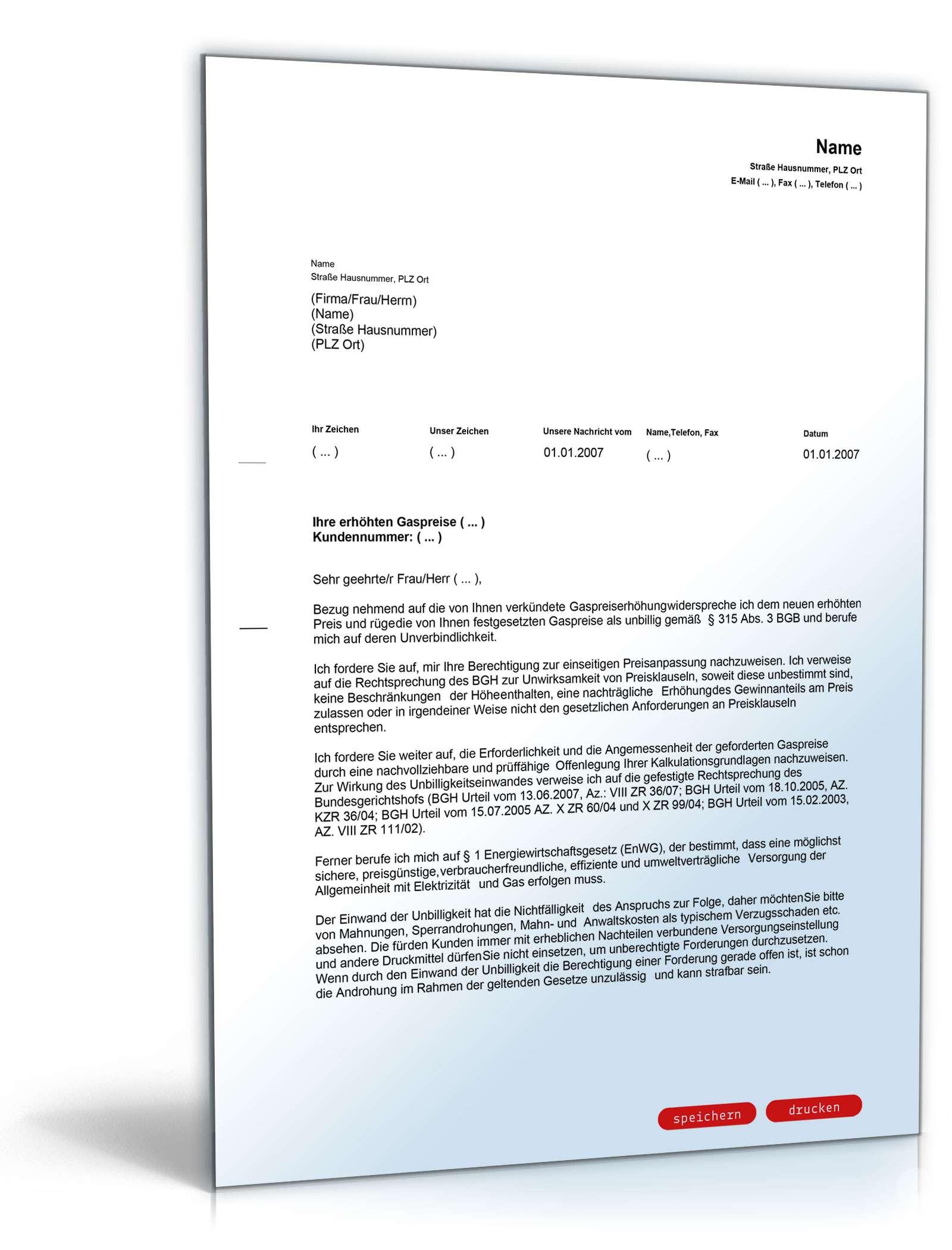 Widerspruch Preiserhohung Gasversorger Muster Zum Download