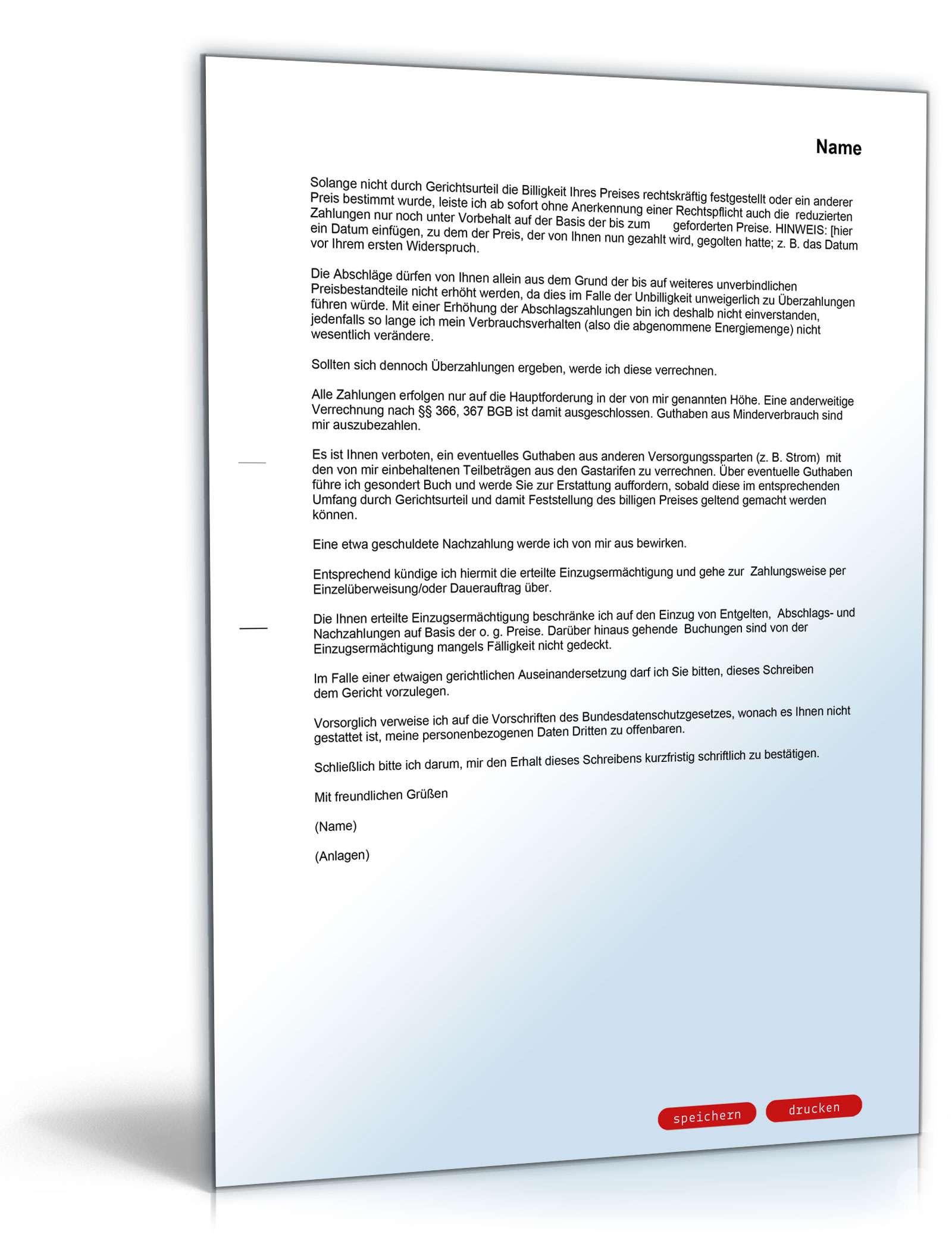 Widerspruch Preiserhöhung Gasversorger Muster Zum Download