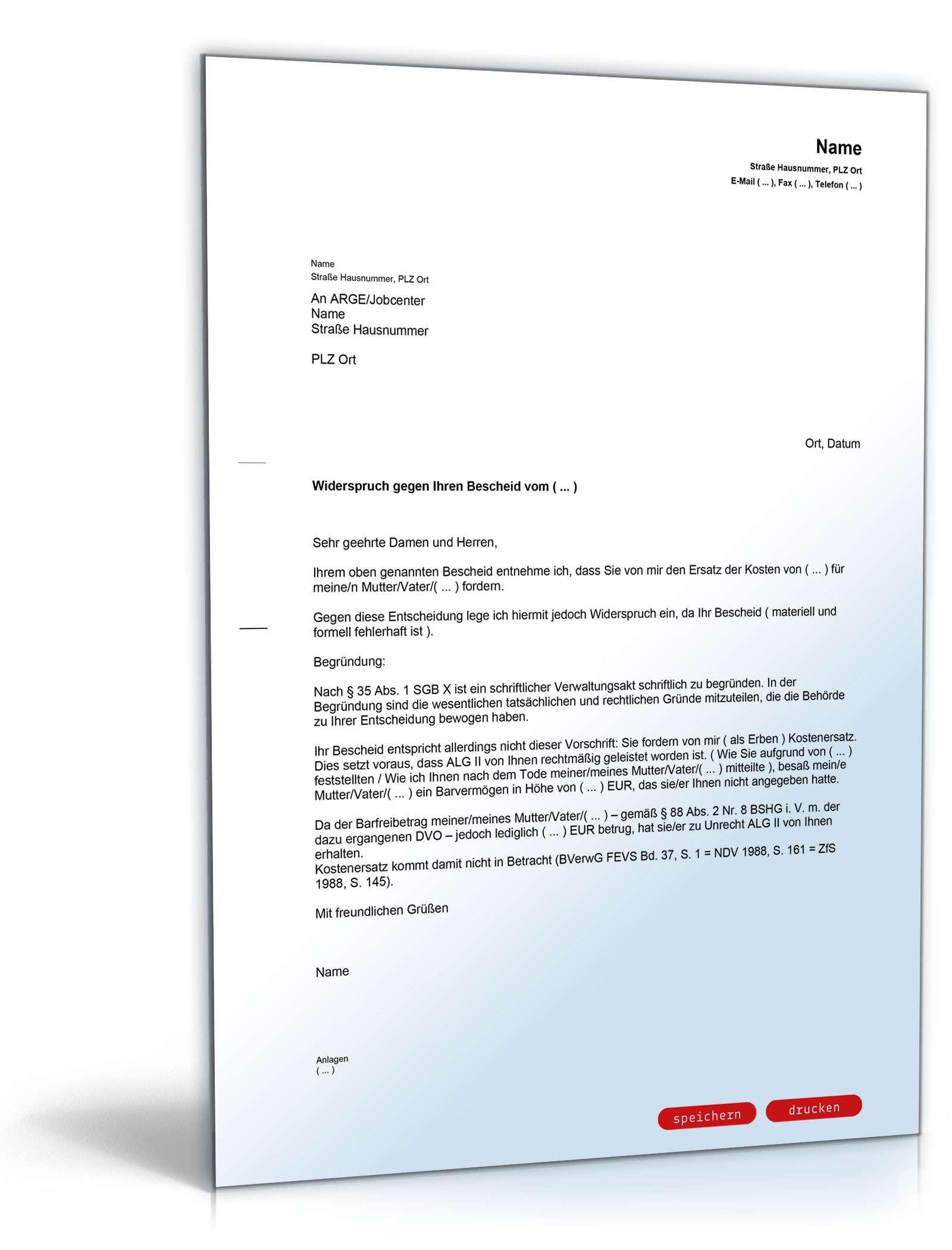 Widerspruch Rückzahlung Alg Ii Für Angehörige Vorlage Zum Download