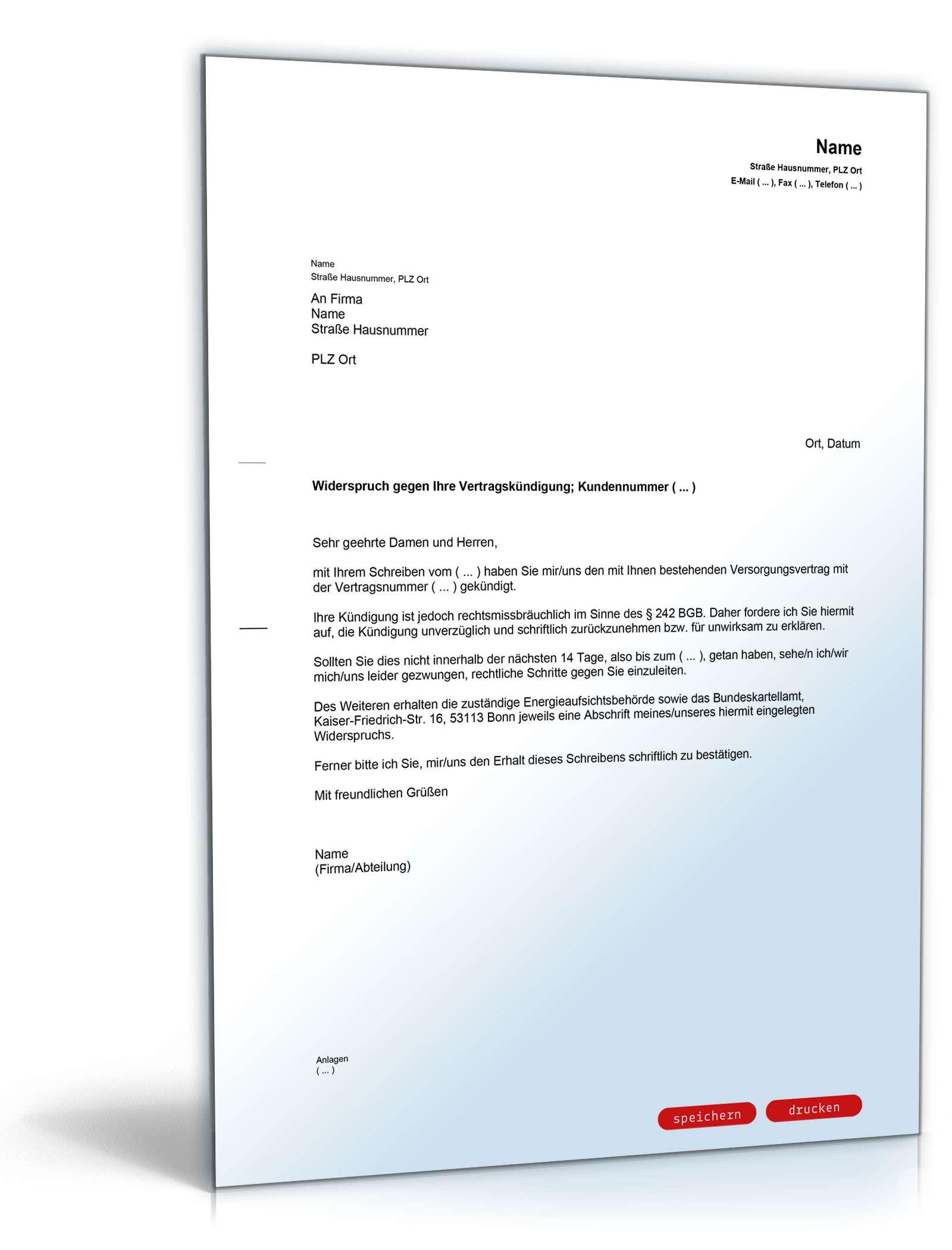 Widerspruch Gegen Vertragskündigung Durch Energieversorger Vorlage