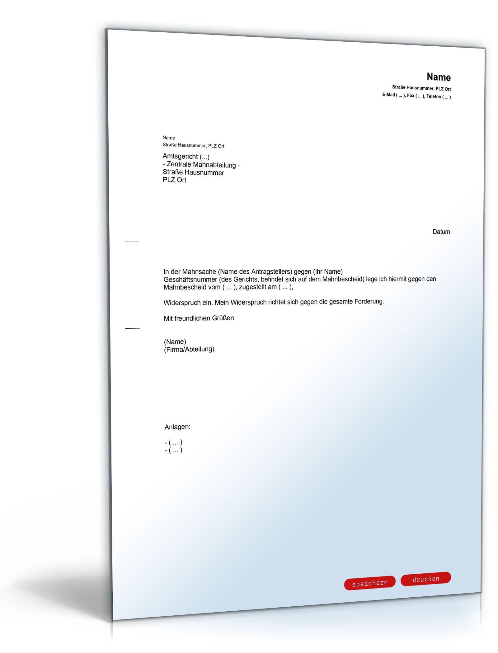 Widerspruch Mahnbescheid Vorlage Zum Download