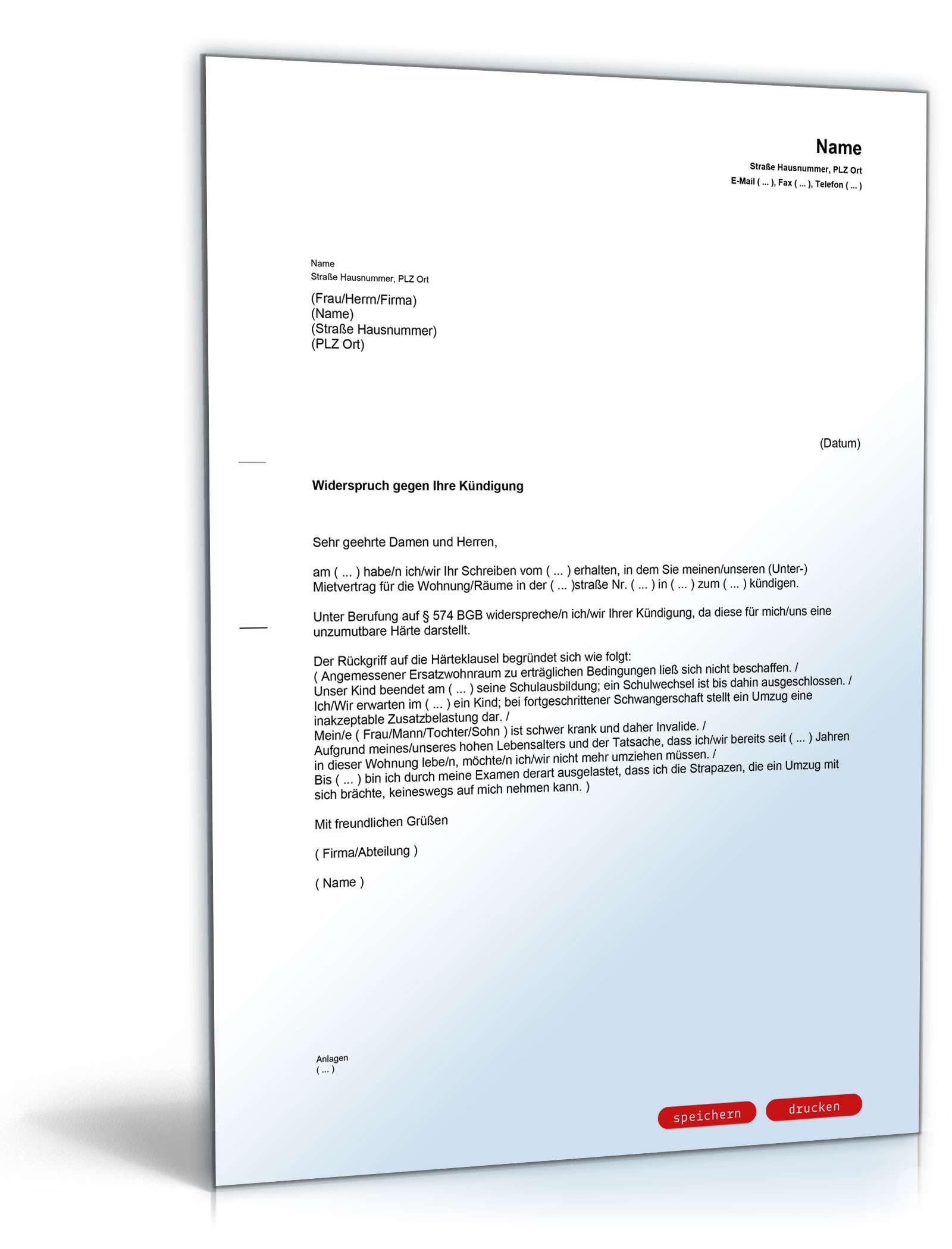 Widerspruch Unzumutbare Kündigung Mietvertrag Muster Zum Download