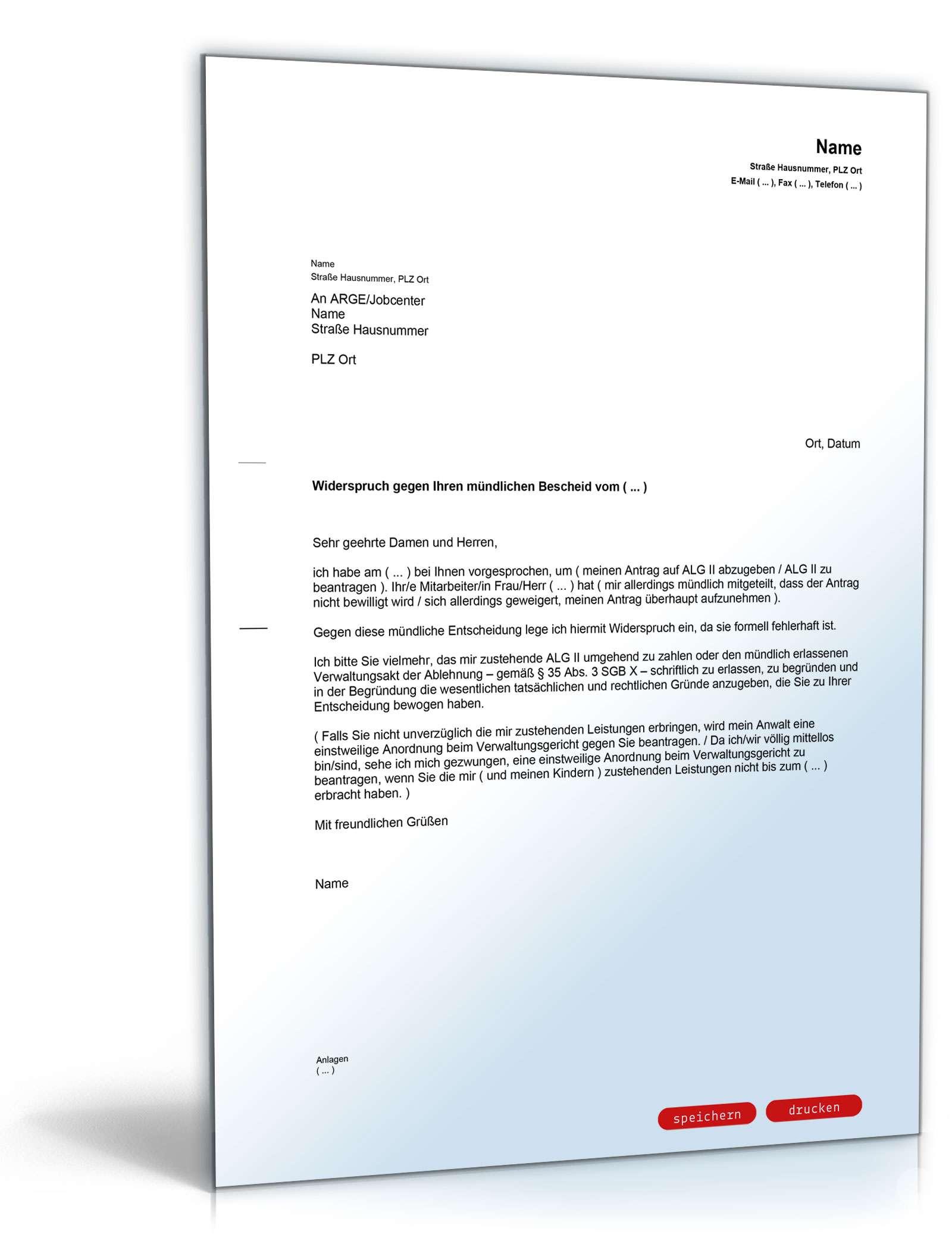 widerspruch mndlicher ablehnungsbescheid alg ii vorlage zum download - Einstweilige Verfugung Muster