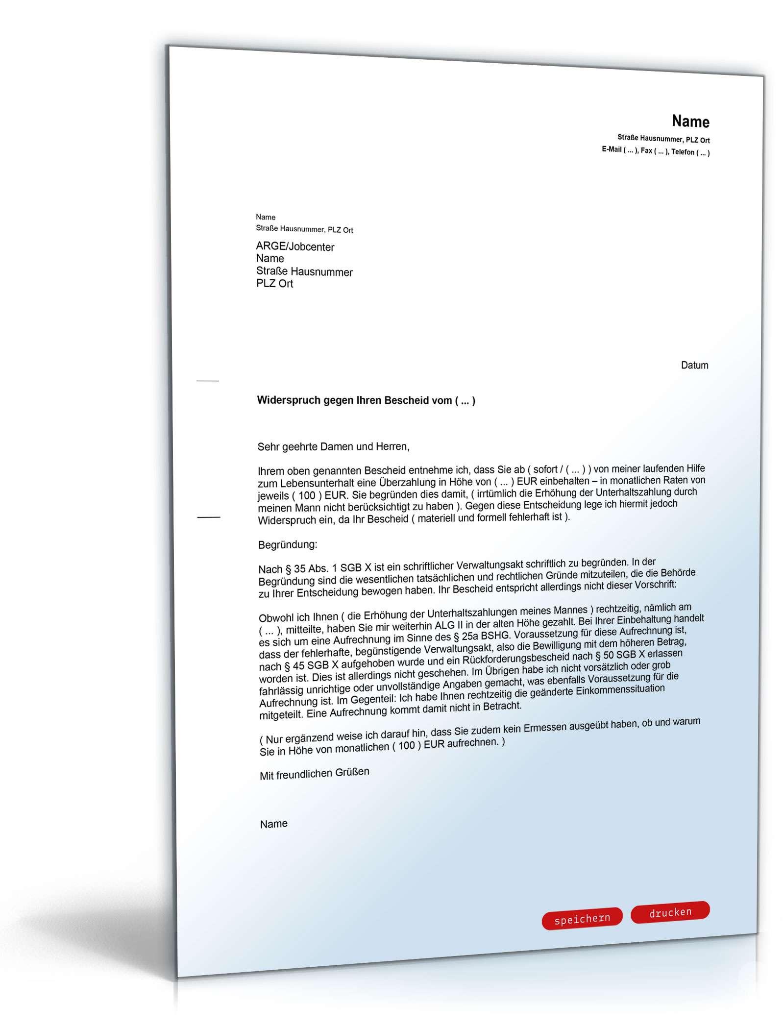 widerspruch berzahlung alg ii - Widerspruch Jobcenter Ruckzahlung Muster