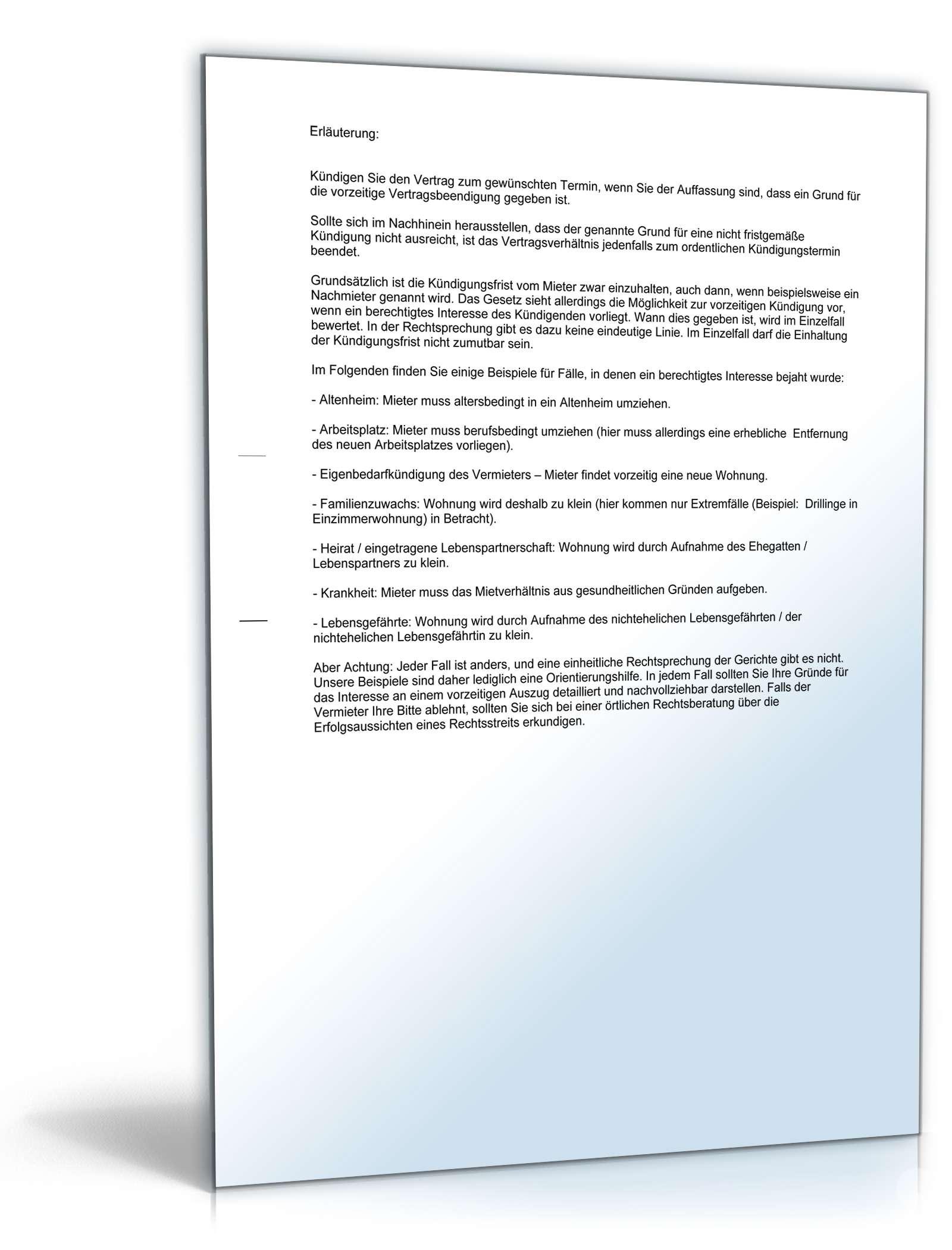Kündigung Mietvertrag Durch Mieter Muster Zum Download