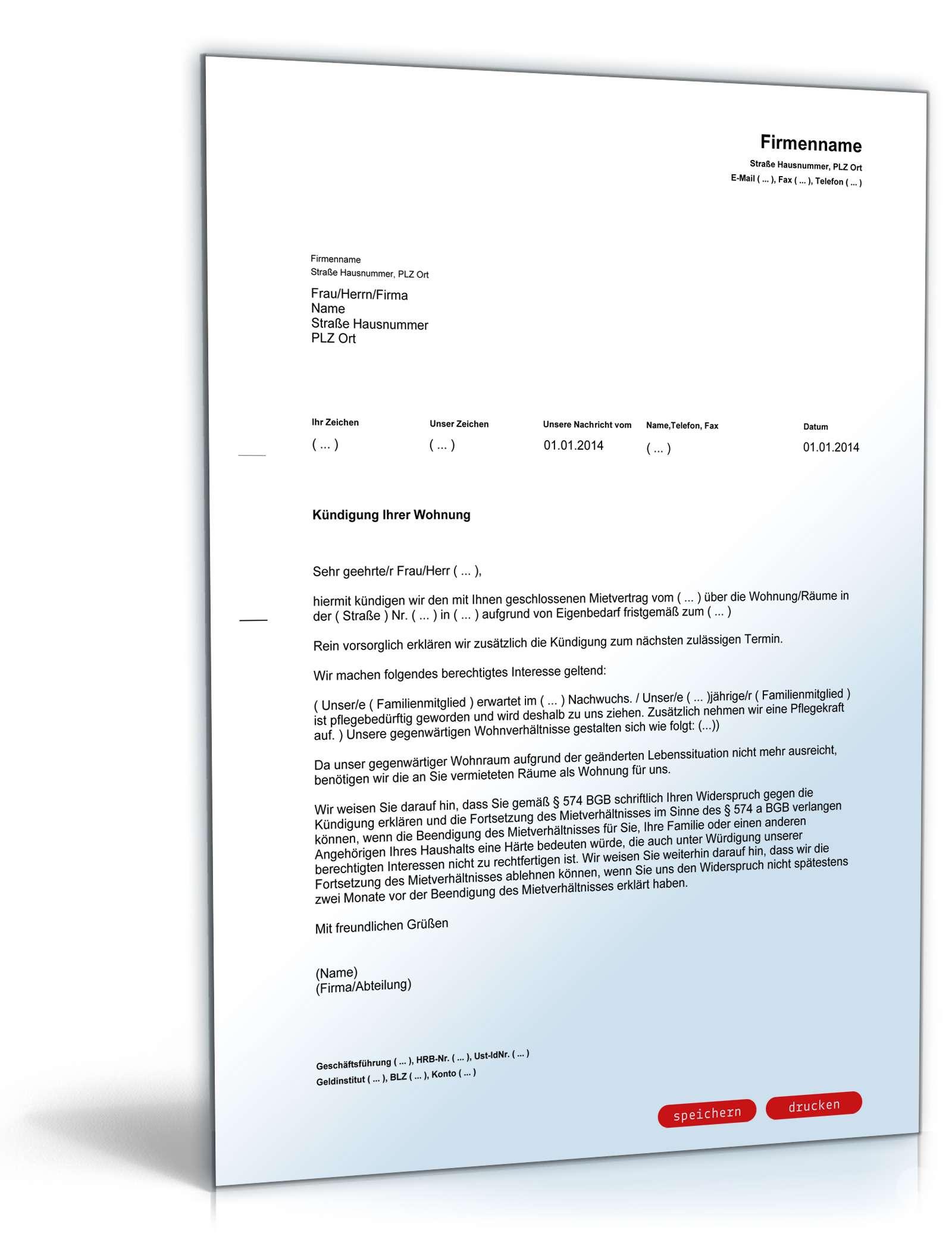 Kündigung Mietvertrag Eigenbedarf Muster Zum Download