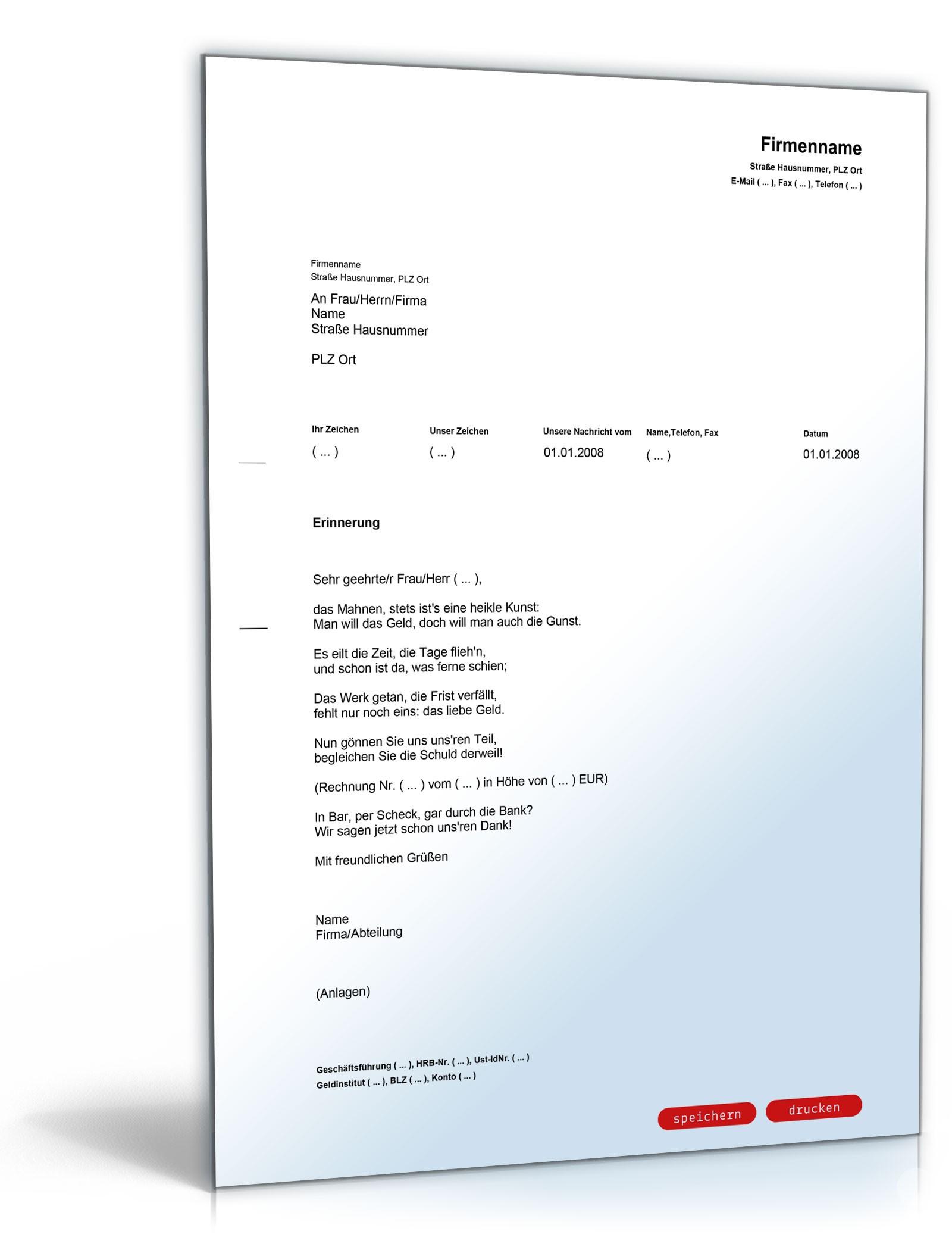 Zahlungserinnerung In Gedichtform Muster Zum Download