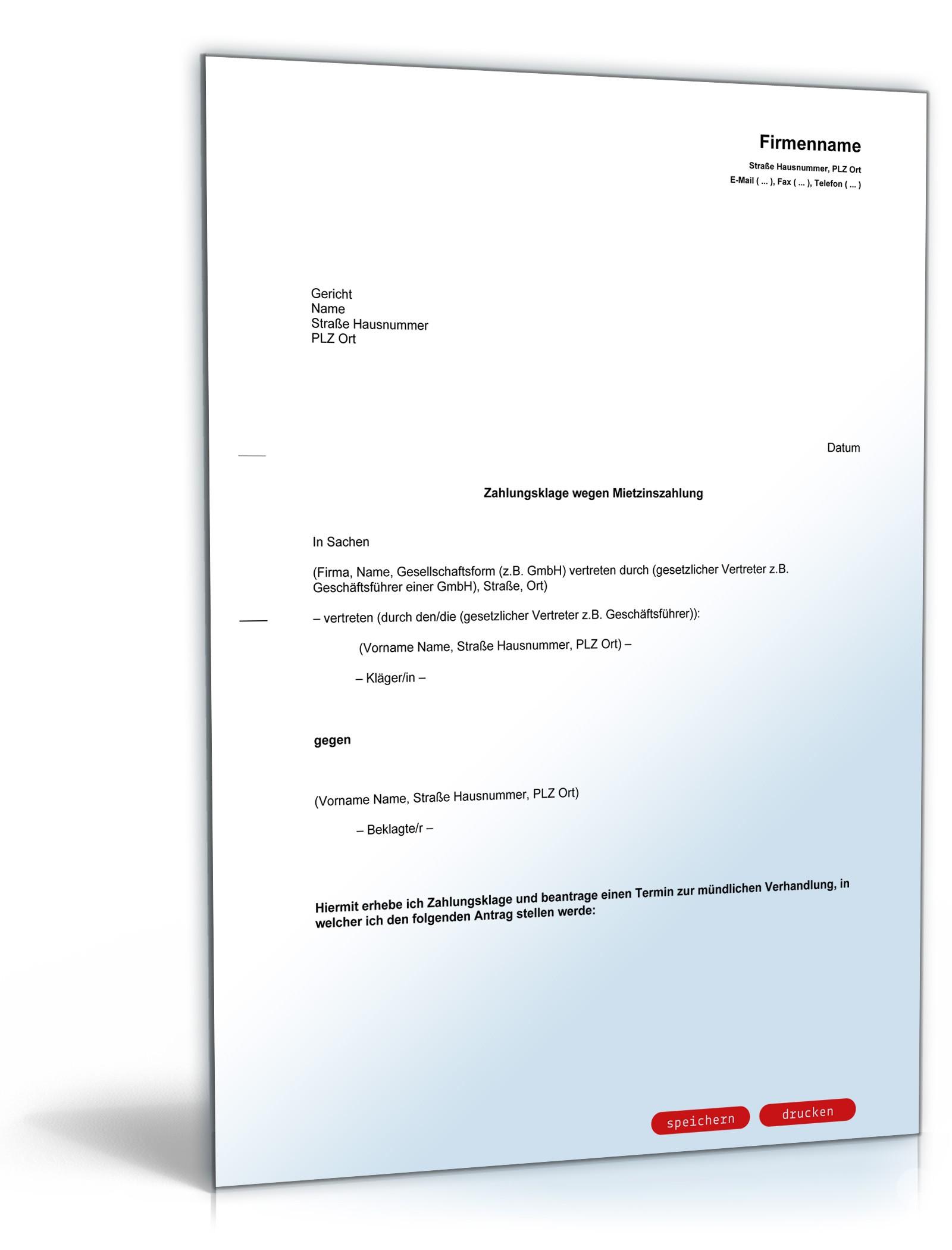 Zahlungsklage Miete Vorlage Für Vermieter Zum Download