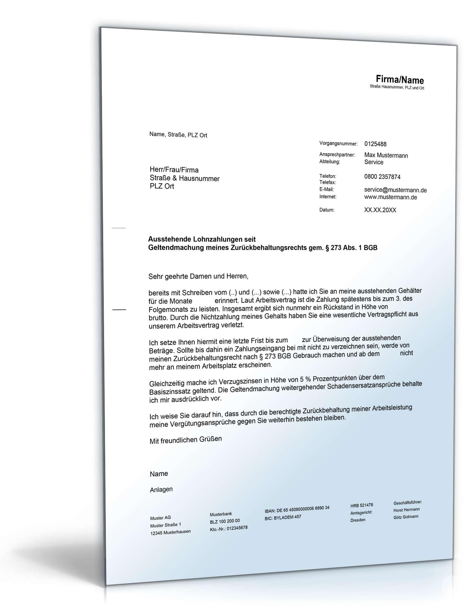 Geltendmachung Des Zurückbehaltungsrechts Musterbrief Zum Download