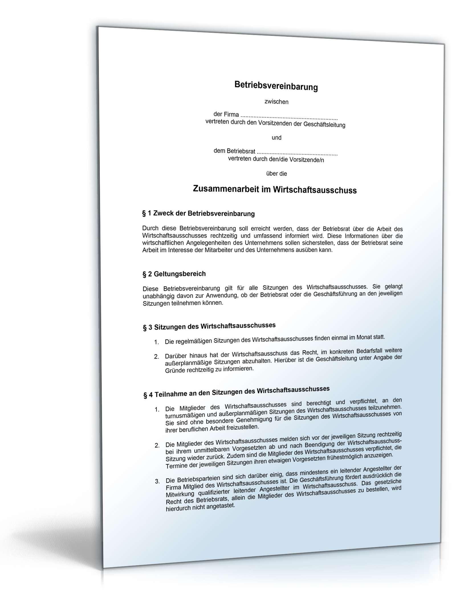 Betriebsvereinbarung Wirtschaftsausschuss - Muster-Vorlage zum Download