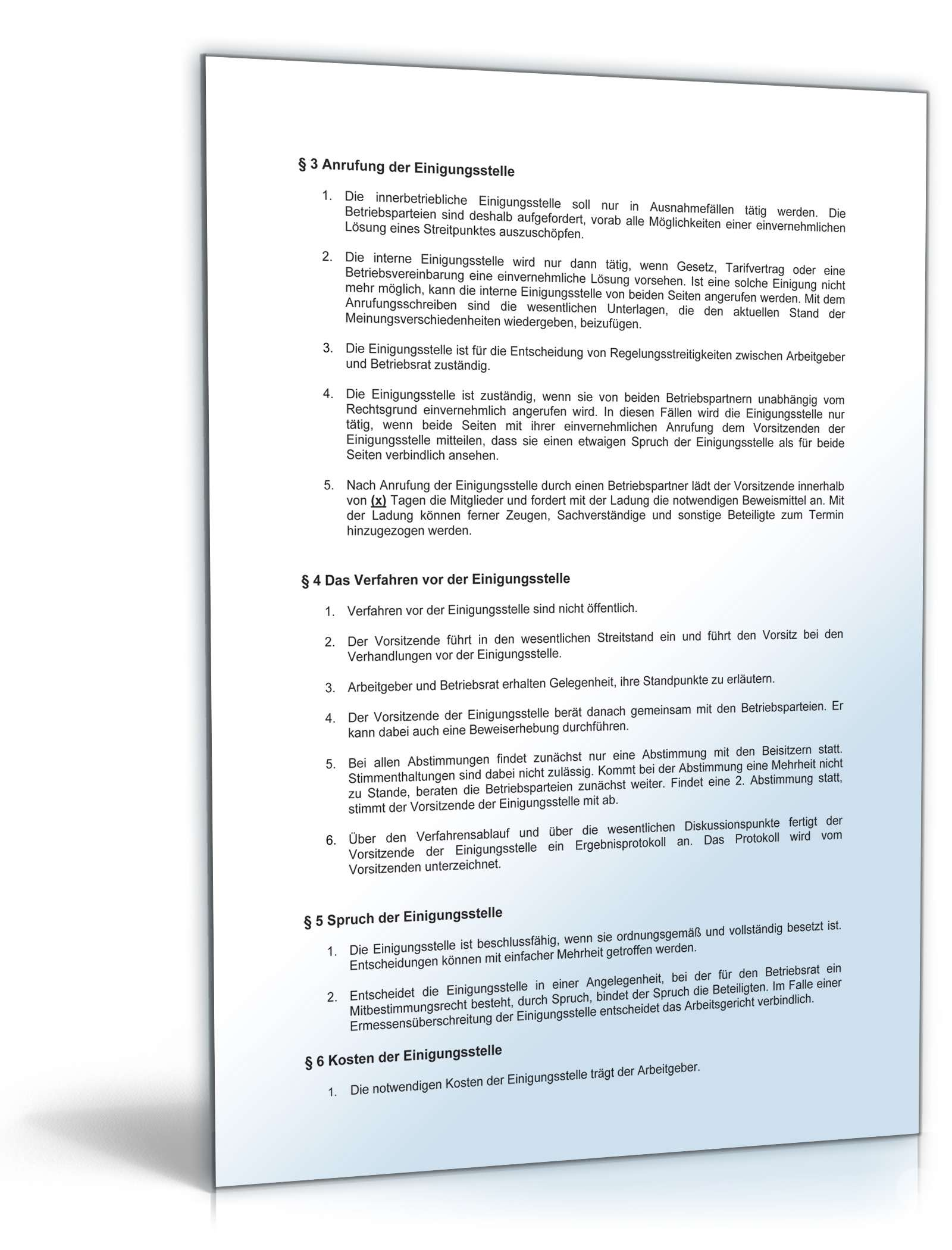 Betriebsvereinbarung Einigungsstelle
