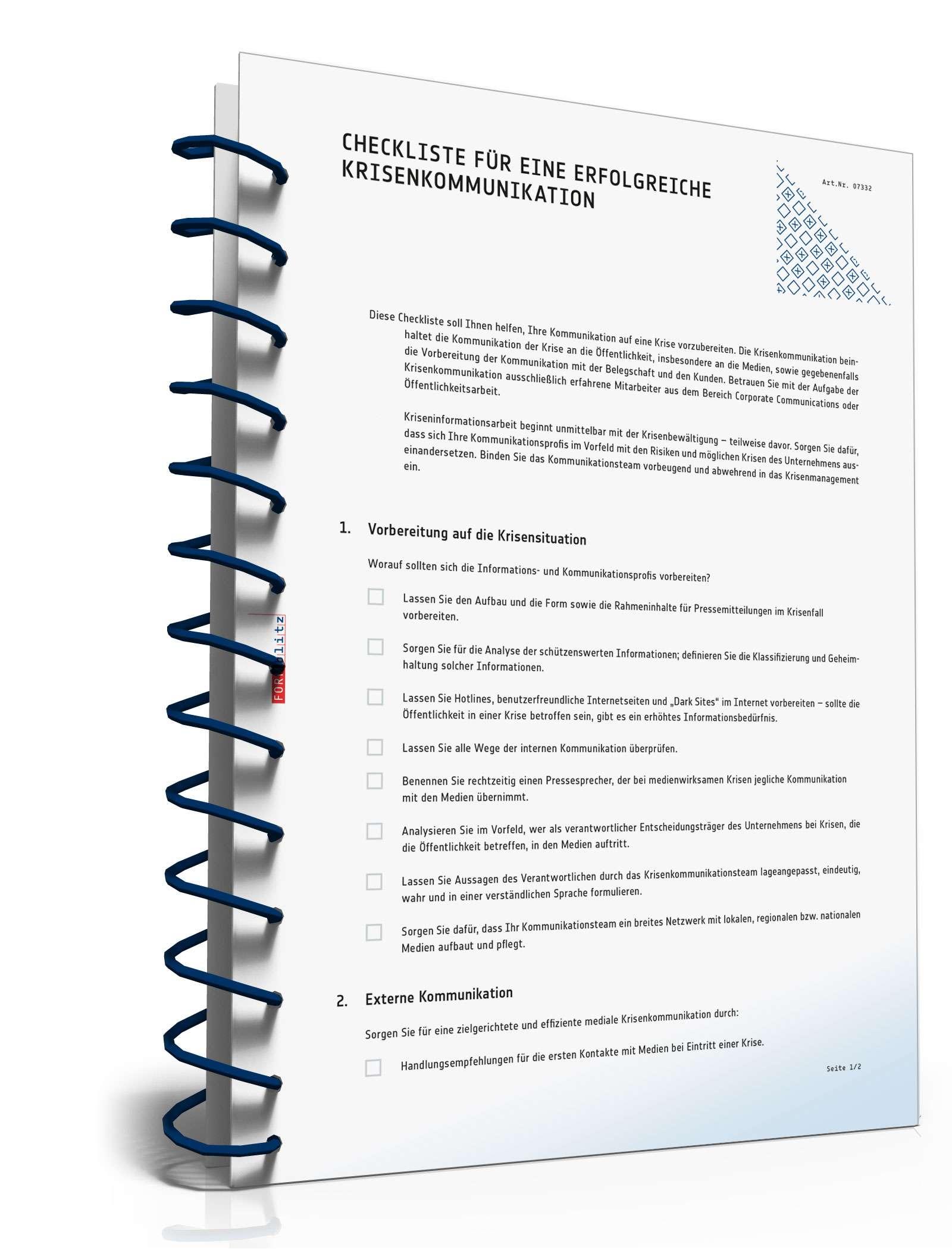 Checkliste Krisenkommunikation