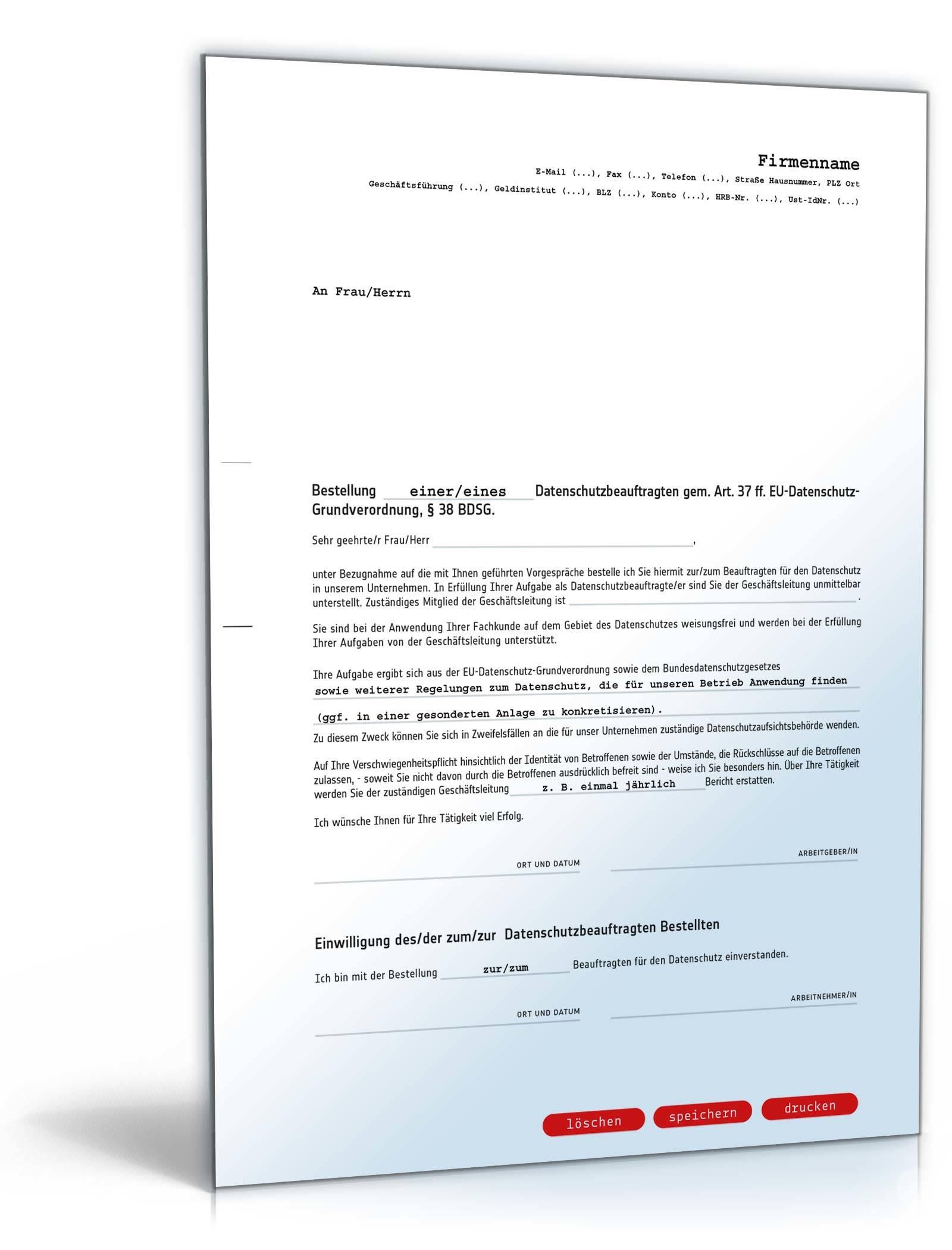 Bestellung Datenschutzbeauftragter