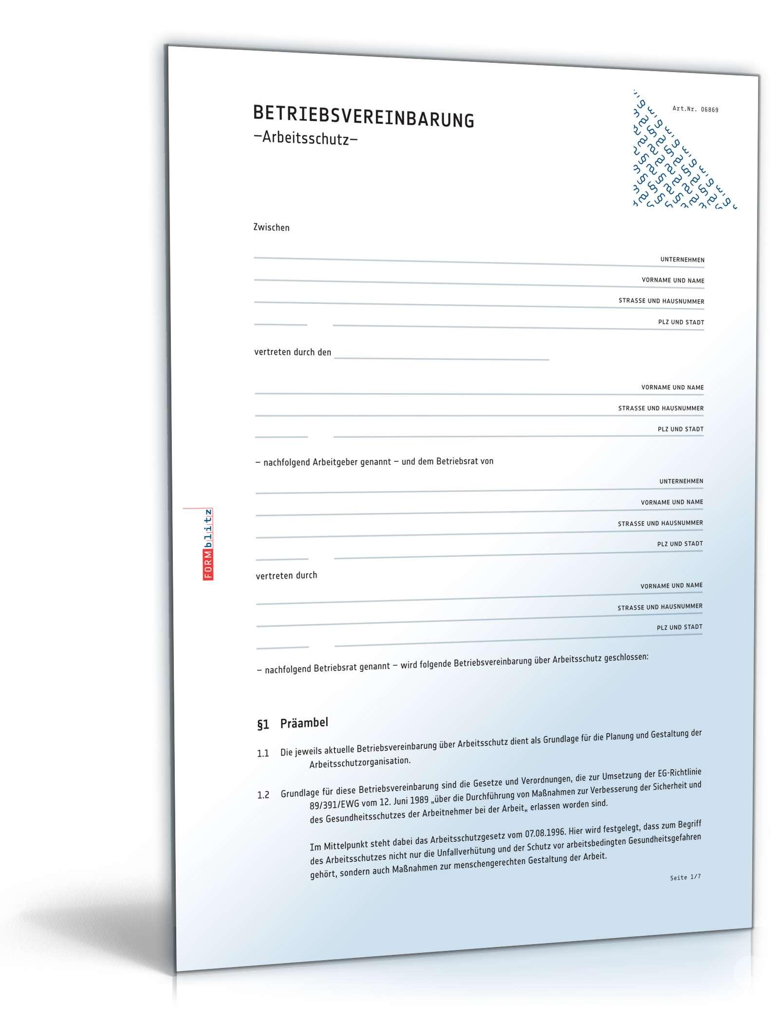 Betriebsvereinbarung Arbeitsschutz