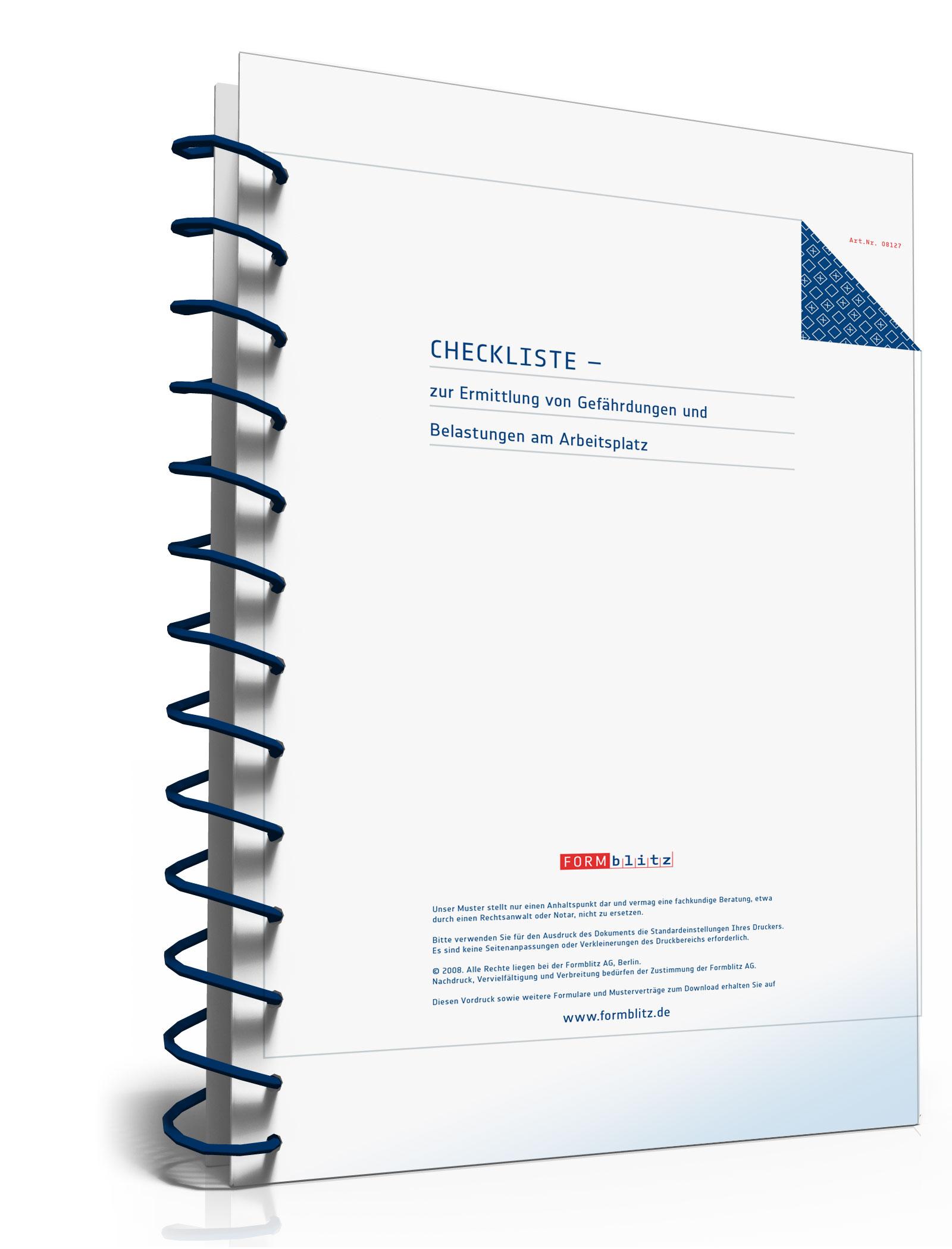 Checkliste Gefährdungen am Arbeitsplatz