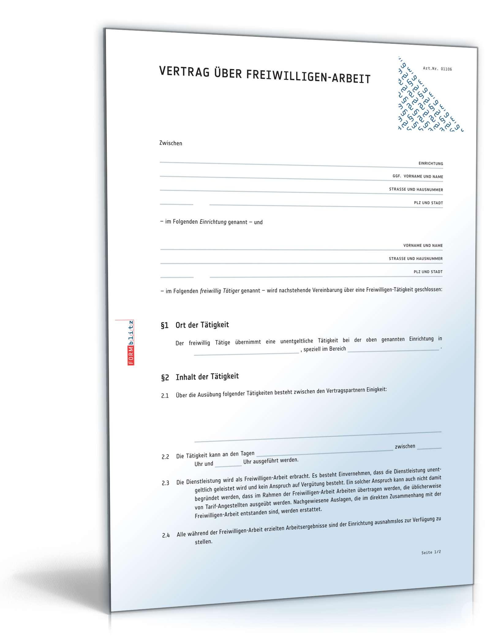 Ehrenamtsvertrag bzw. Vertrag über Freiwilligen-Arbeit